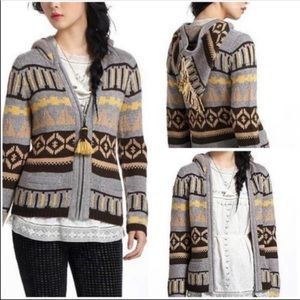 Anthropologie Sparrow Fairisle hooded cardigan